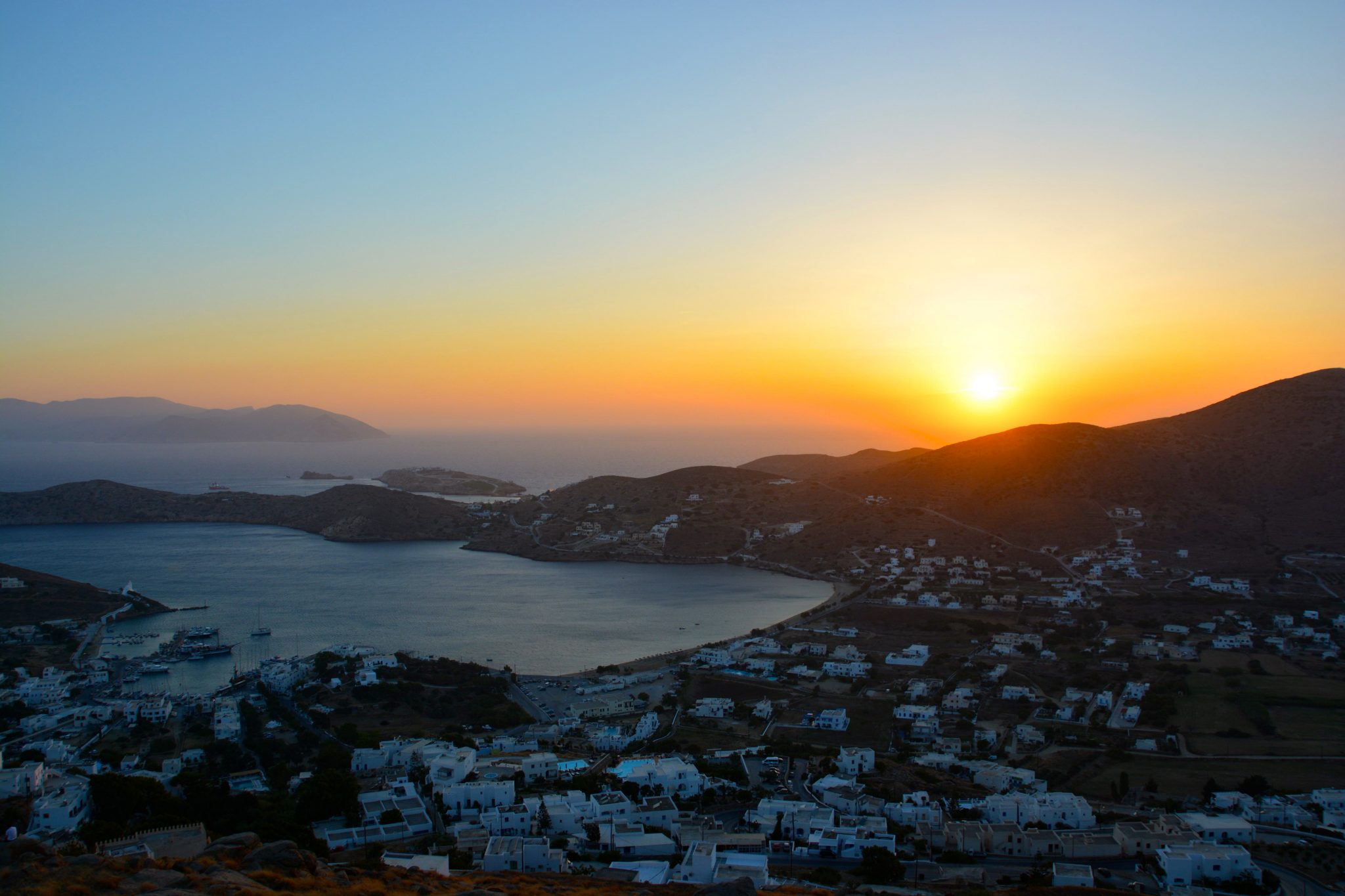 Beautiful sunset in the greek island, Ios.