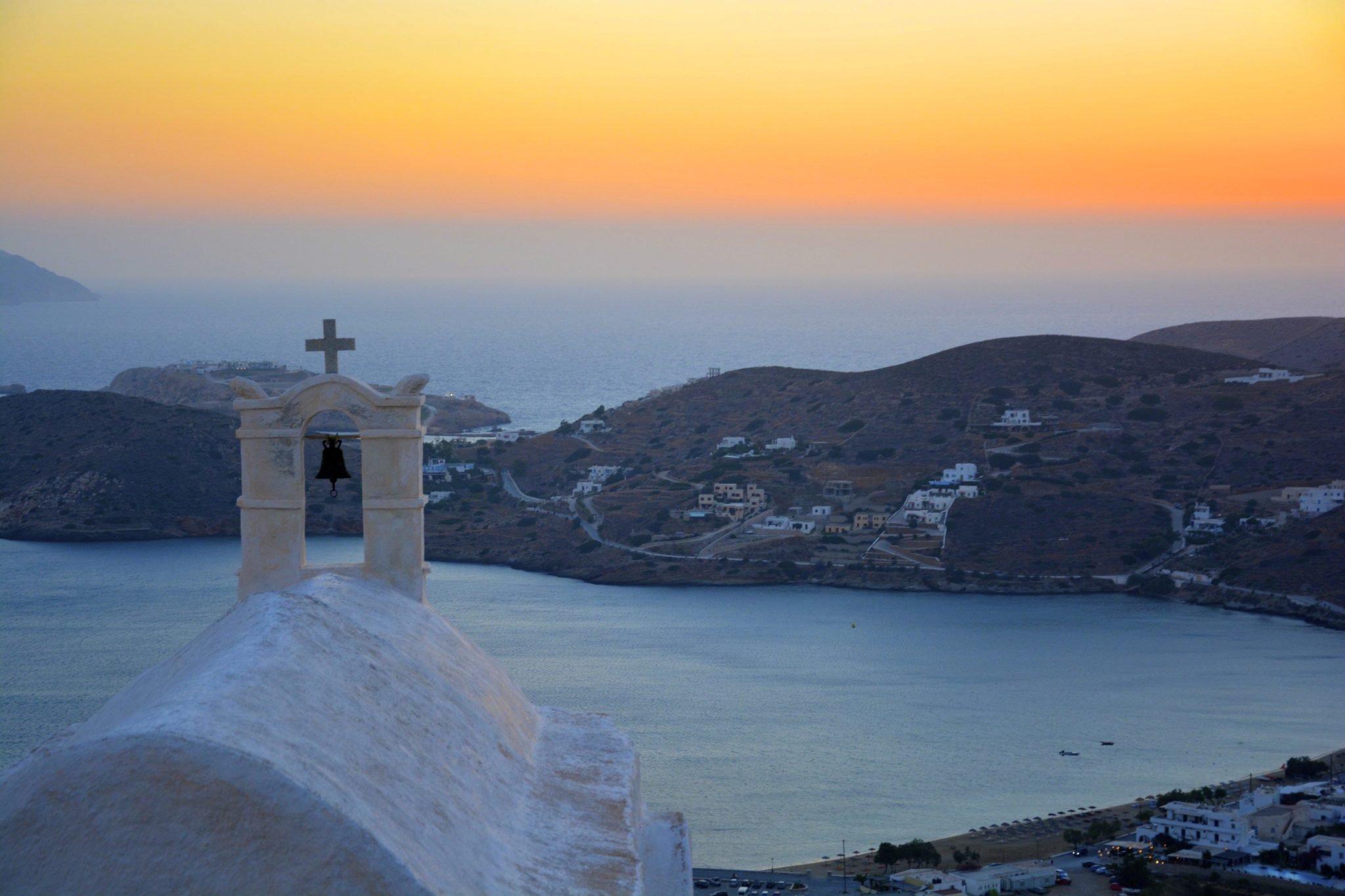 Beautiful sunset in the greek island, Ios.