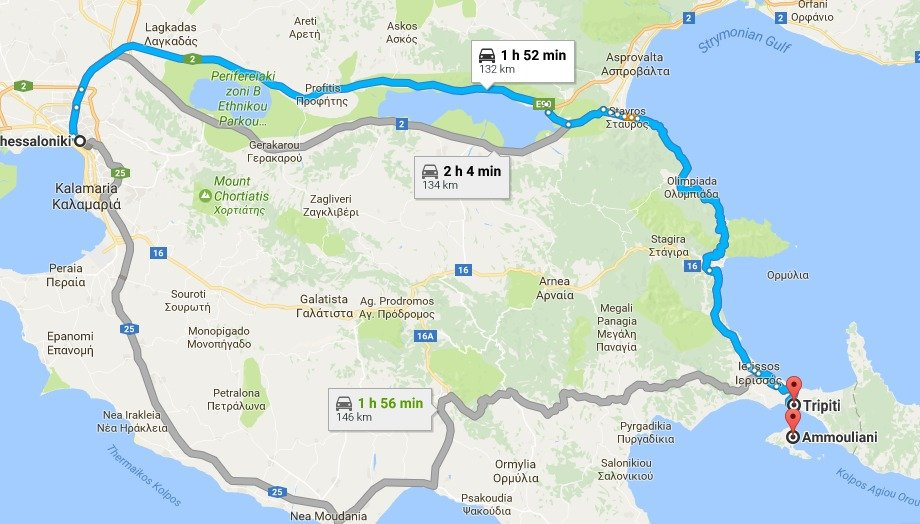 Route from Thessaloniki to Ammouliani