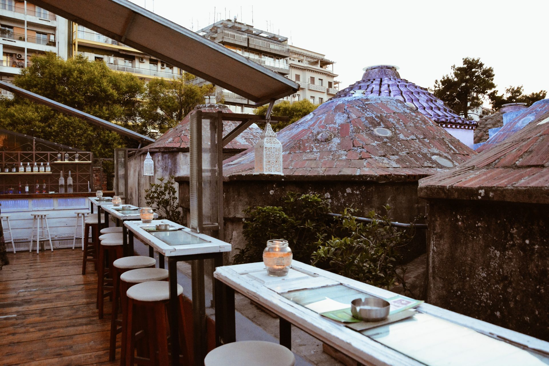To Palio Hamam rooftop bar in Thessaloniki, Greece