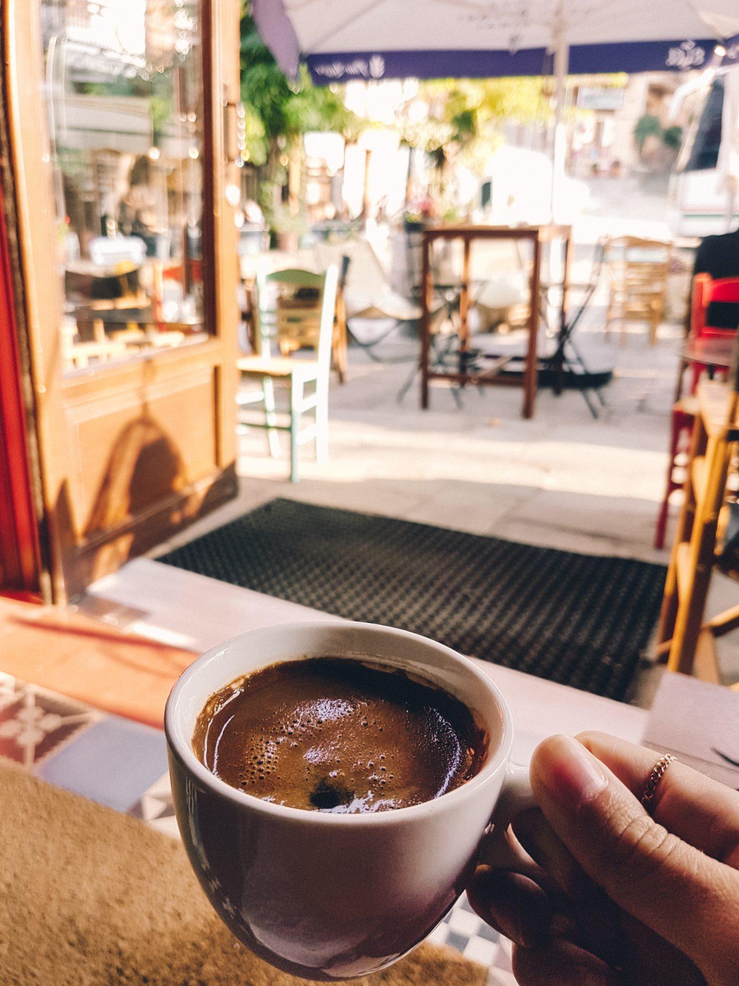 Greek coffee in traditional Greek village